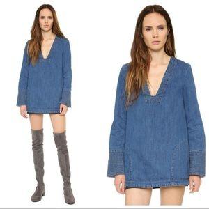 Free People Denim Dreaming Tunic Dress Jean XS